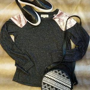 Grey Long Sleeve Top w/ Velvet Shoulder Panels!